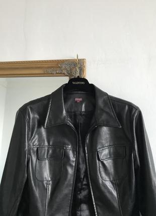 Кожаная куртка с карманами косуха рубашка с натуральной кожи в...