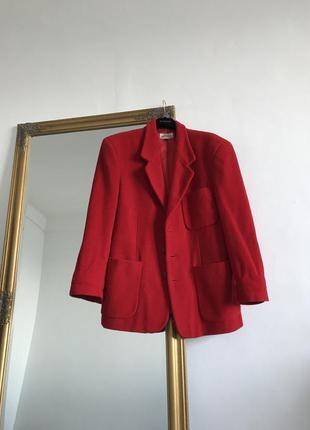 Яркое красное пальто пиджак шерстяное оверсайз k16