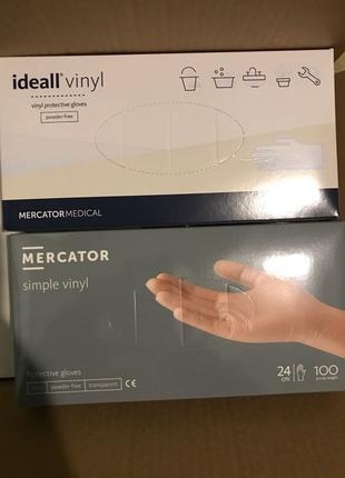Виниловые перчатки без пудры Mercator. винил nitrylex S M L разме
