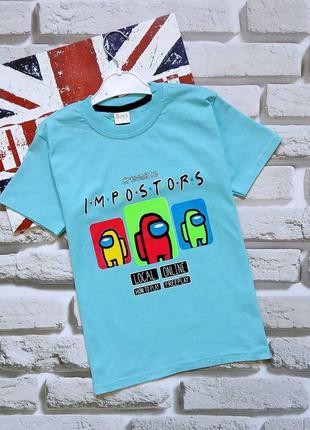 Голубые футболки с амонг ас among us мальчикам 7-11 лет