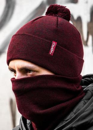 Мужской зимний комплект набор шапка и бафф шерстяной на флисе