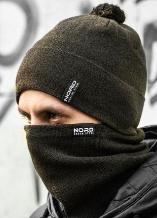 Зимний мужской набор комплект шапка и бафф шерстяной на флисе