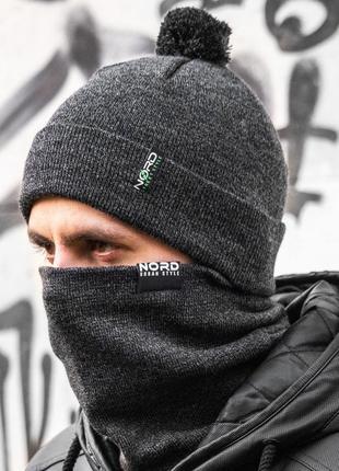 Зимний мужской комплект набор шапка и бафф шерстяной на флисе