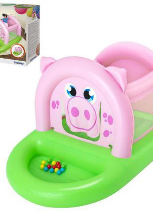 Детский надувной игровой центр батут Bestway 52345 Свинка с шарик