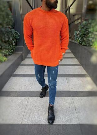 Вязаный мужской зимний свитер крупной вязки вязаный