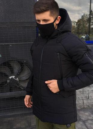 Мужская зимняя куртка парка пуховик с капюшоном и карманами оч...