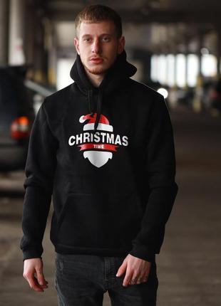 Мужская зимняя толстовка худи с капюшоном новогодний принт рож...