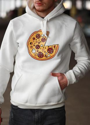 Мужская зимняя толстовка худи с капюшоном принт пицца