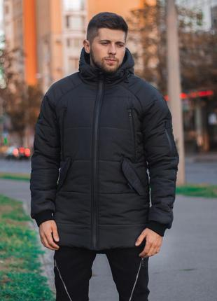 Мужская зимняя куртка парка пуховик с капюшоном и карманами