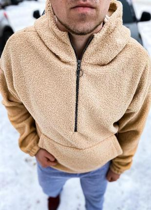 Мужская толстовка кофта плюшевая куртка с капюшоном на змейке ...