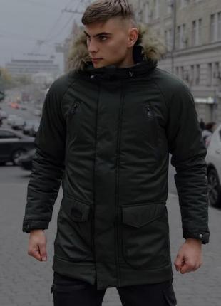 Мужская зимняя куртка парка с капюшоном с мехом и карманами