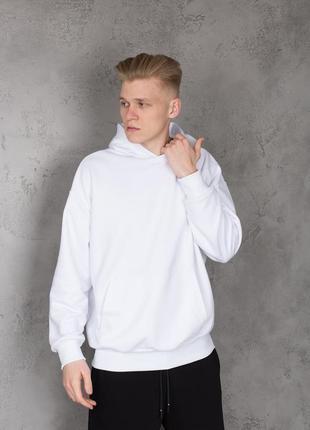 Базовая мужская толстовка худи с капюшоном белая