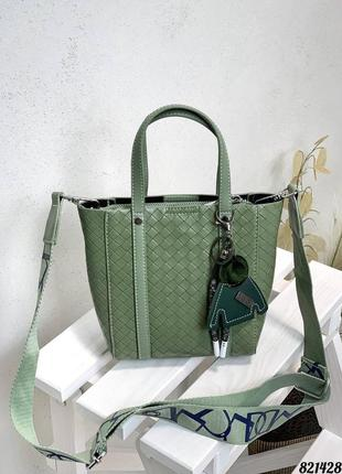 ❤️ стильная кожаная плетеная сумка