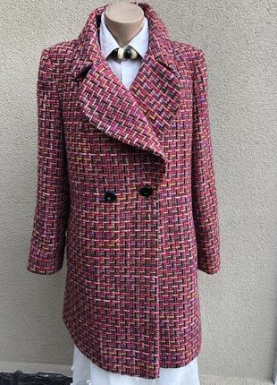 Пальто в разноцветную клетку,большой размер,полиамид-шерсть