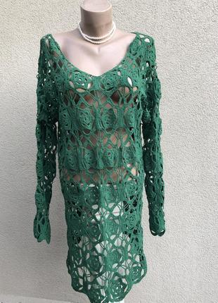 Вязаное,ажурное платье,туника,блуза,пляжное,зелёное,