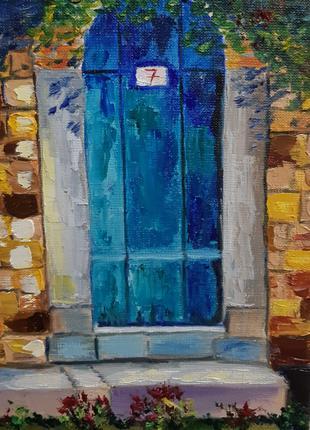 """Картина маслом """"Двери к счастью"""" размер холста 20×30 см"""