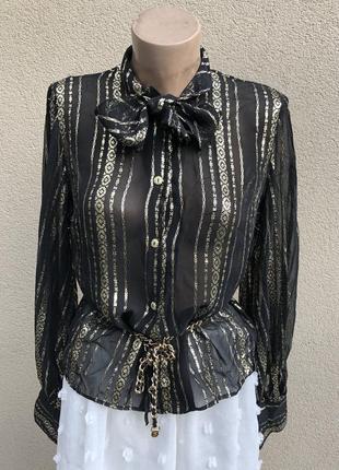 Винтаж,золотая,прозрачная блуза,рубаха с бантом по вороту
