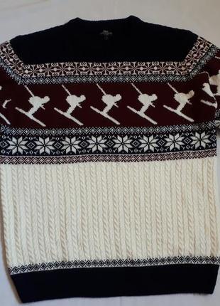 Новогодний мужской свитер* пуловер * джемпер с лыжниками next ...