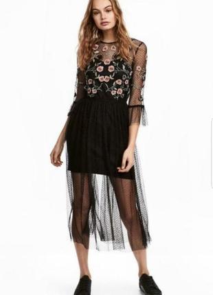 Платье сетка h&m с вышивкой бисером