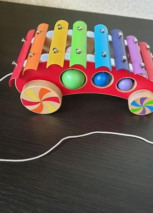Деревянная каталка ксилофон