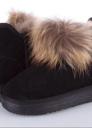 Женские угги ботинки натуральный замш и мех енота низкие черные