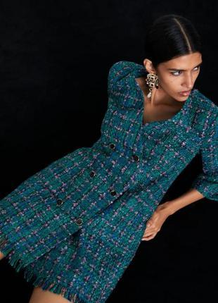 Платье-пиджак  zara с пуговицами зелёного меланжевого цвета