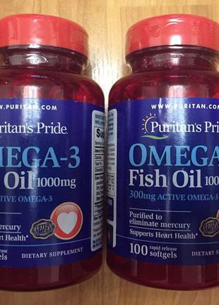 Витамины Puritan Pride Omega-3 Fish Oil 1000 mg 100 капсул