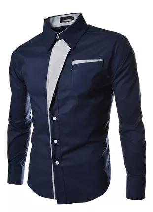 Темно-синяя, приталенная, мужская рубашка
