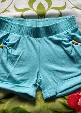 Голубые шорты для девочки 5-6 лет
