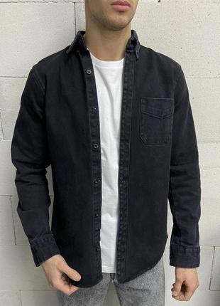 Джинсовка джинсовая рубашка мужская черная турция / джинсова с...