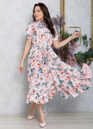 Цветочное платье-рубашка с кулиской и воланом