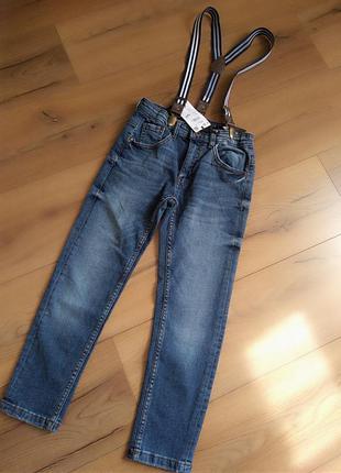 Крутые джинсы reserved на сьемных подтяжках для мальчика 116-1...