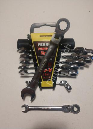 Набір ключів Рожково - накидні з тріщьоткою 8-19мм