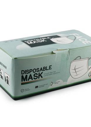 Маска защитная, 3-х слойная с зажимом для носа цена за уп.50 шт