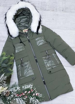 Размер 134-158 Зимняя куртка на 100% холлофайбере