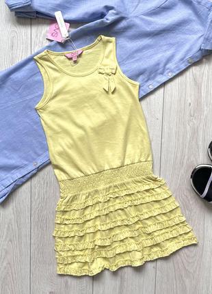 Желтое трикотажное платье сарафан для девочки ovs kids италия