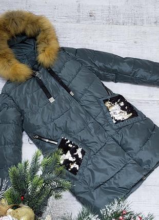 Размер 140-164 Зимняя куртка на 100% холлофайбере