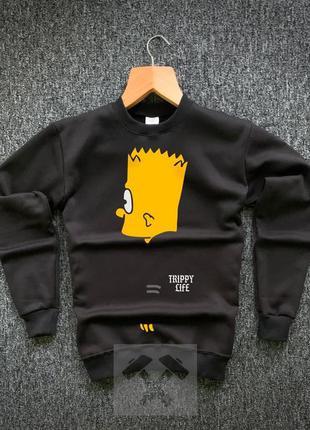 Легкий весенний свитшот свитер с принтом барта симпсона черный