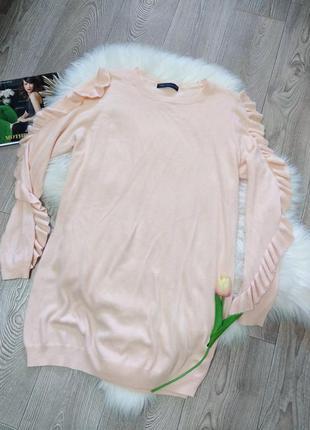 Лёгкий женский длинный свитер с оборками лёгкая кофта кофточка