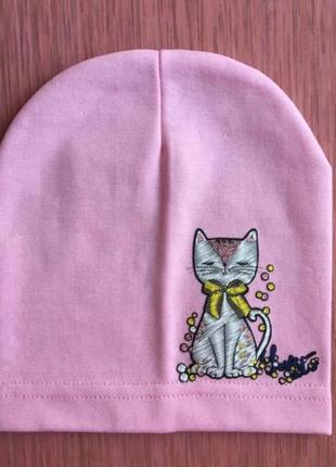 Тонкая трикотажная шапка для девочки от 1 года 48 50