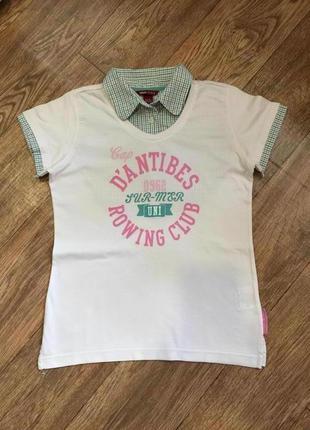 Стильная футболка с имитацией рубашки для девочки на 13\14 лет