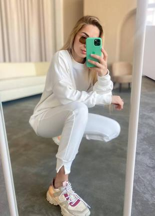 Белый костюм оверсайз/ женский свободный свитшот+штаны