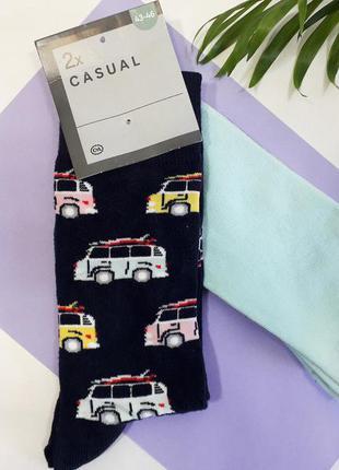 Набор носков 2 пары носки хлопковые мужские яркие стильные р.3...