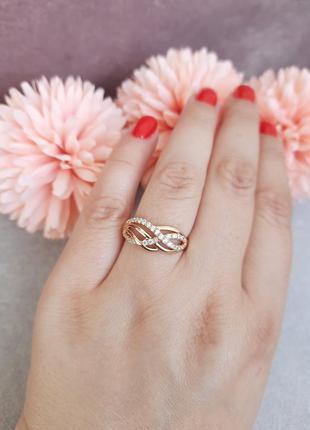 Кольцо с камушками фианита, медицинское золото xuping
