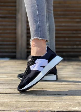 New balance 327 black white  кроссовки женские