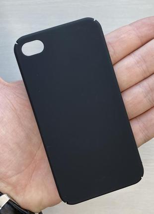 Чехол черный чохол на для айфон iphone 4 пластиковый