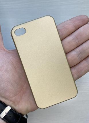 Чехол золотистый чохол на для айфон iphone 4 пластиковый