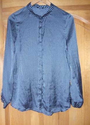 Шикарная   блуза-рубашка шелковая р40 кіомі