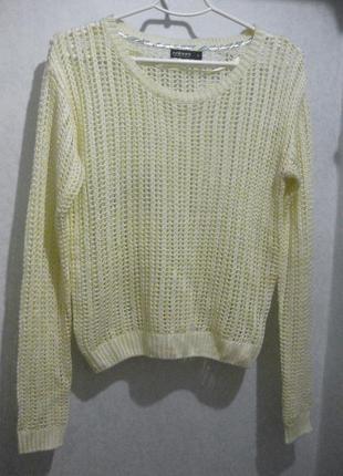 Джемпер кофта свитер colours of the world жёлтая вязаная сетка
