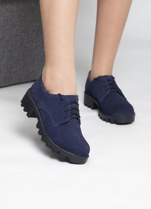 Темно-синие замшевые туфли 36 размера